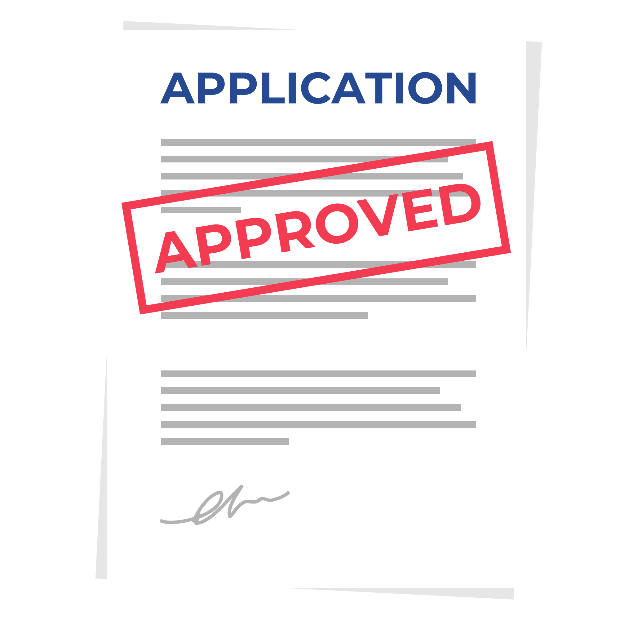 A vector image of an Application being approved